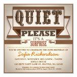 vintage typographic surprise birthday party invite 13 cm x 13 cm square invitation card