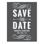 Vintage Typography 2 Save the Date Postcard
