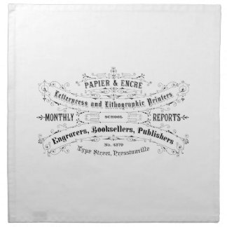 vintage typography advert booksellers napkin
