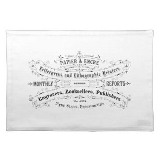 vintage typography advert booksellers placemat