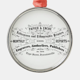 vintage typography advert booksellers Silver-Colored round decoration