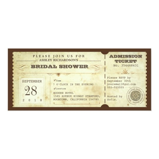 vintage typography bridal shower tickets card