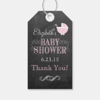 Vintage Typography Chalkboard Pink Baby Shower Gift Tags