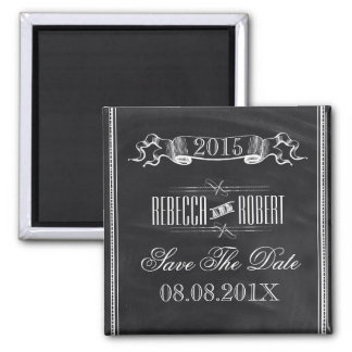 vintage Typography Chalkboard save the date Magnets