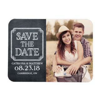 Vintage Typography Chalkboard Save the Date Magnet