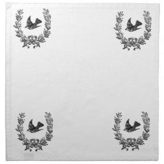 vintage typography design dove & wreath bird cloth napkin