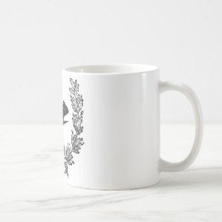 vintage typography design dove & wreath bird coffee mug