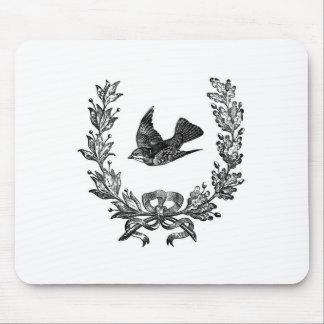 vintage typography design dove & wreath bird mouse mat