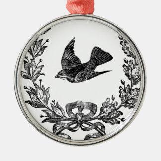 vintage typography design dove & wreath bird Silver-Colored round decoration