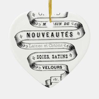 vintage typography fabric design ceramic heart decoration