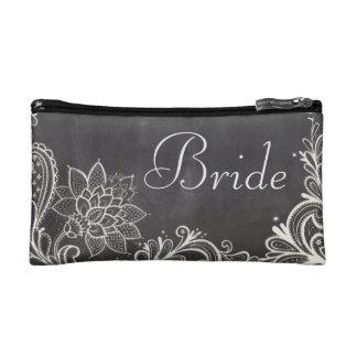 vintage typography flourish Chalkboard bride Cosmetic Bags