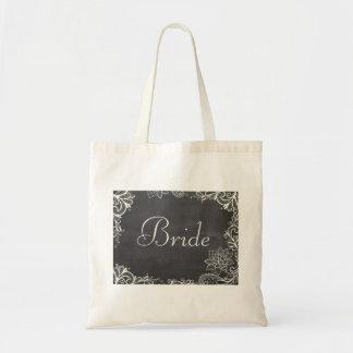 vintage typography flourish Chalkboard bride Bags