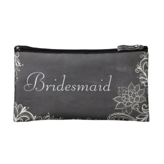 vintage typography flourish Chalkboard bridesmaid Cosmetic Bags