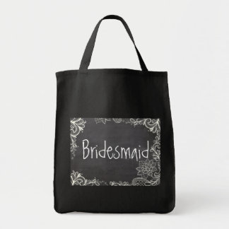 vintage typography flourish Chalkboard bridesmaid Grocery Tote Bag
