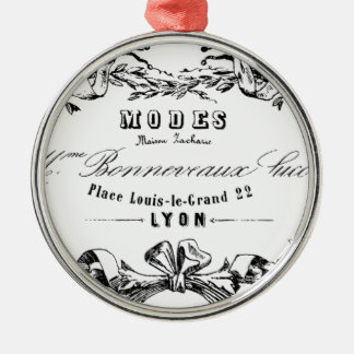 Vintage Typography French Ribbon Modes design Christmas Ornament