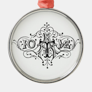 vintage typography HOME script Christmas Ornament