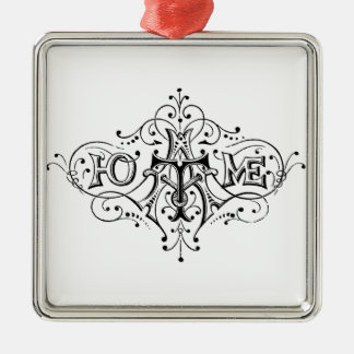 vintage typography HOME script Silver-Colored Square Decoration