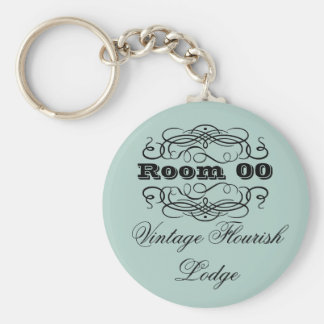 Vintage typography hotel room blue key ring