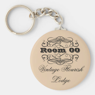 Vintage typography hotel room brown basic round button key ring