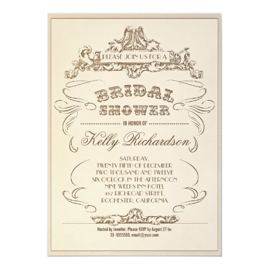 vintage typography old bridal shower invitations