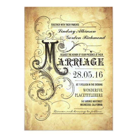 Vintage typography old wedding invitations