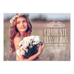 "Vintage Typography | Photo Graduation Party 5"" X 7"" Invitation Card"