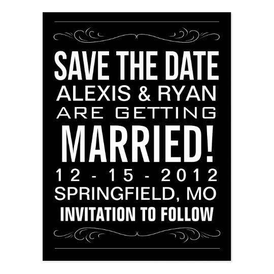 Vintage Typography Save the Date Postcard