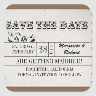 vintage typography save the date ticket stickers