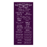 Vintage Typography Style Purple Wedding Programs Customized Rack Card