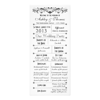 Vintage Typography Style Wedding Programs Rack Cards