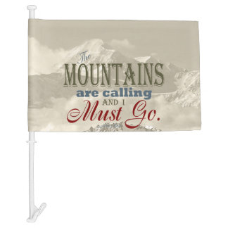 Vintage Typography The mountains are calling; Muir Car Flag