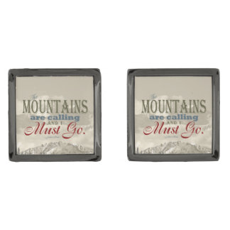 Vintage Typography The mountains are calling; Muir Gunmetal Finish Cufflinks