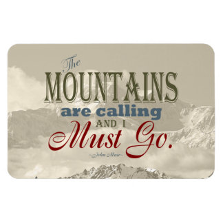 Vintage Typography The mountains are calling; Muir Rectangular Photo Magnet