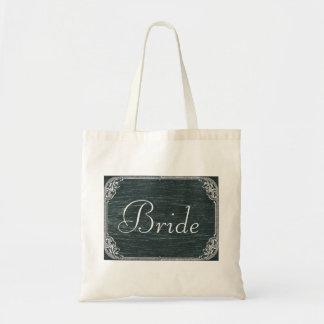 Vintage Typography wedding chalkboard bride Budget Tote Bag