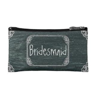 Vintage Typography wedding chalkboard bridesmaid Makeup Bag
