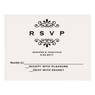Vintage typography wedding RSVP cards