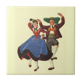 Vintage Tyrolean dancers, Austria Small Square Tile