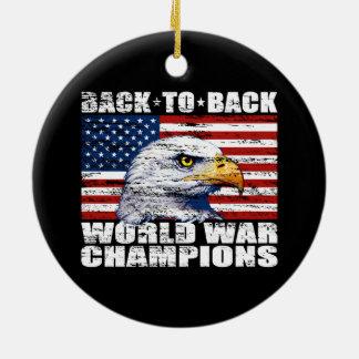Vintage U.S. Flag & Eagle World War Champions Round Ceramic Decoration