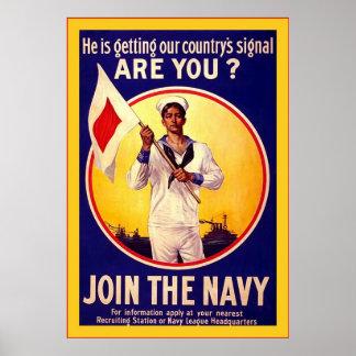 Vintage U.S Navy~Vintage World War Poster
