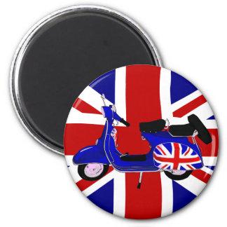 Vintage UJ Blue Scooter Art 6 Cm Round Magnet