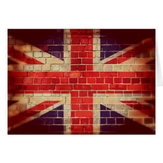 Vintage UK flag on a brick wall Card