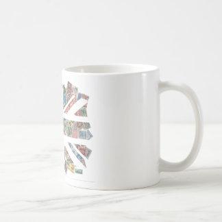 Vintage UK Flag Postage Stamp pattern Basic White Mug