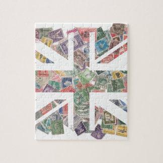 Vintage UK Flag Postage Stamp pattern Jigsaw Puzzle