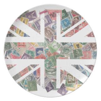 Vintage UK Flag Postage Stamp pattern Plates