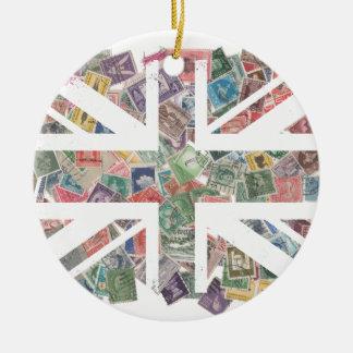 Vintage UK Flag Postage Stamp pattern Round Ceramic Decoration