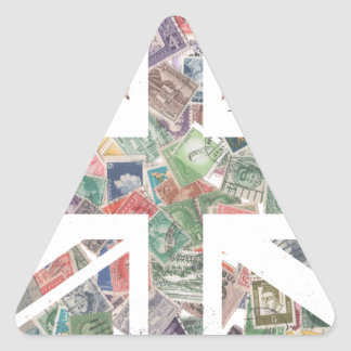 Vintage UK Flag Postage Stamp pattern Triangle Sticker
