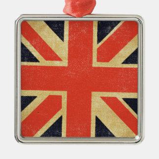 Vintage UK Flag Silver-Colored Square Decoration