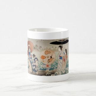Vintage ukiyo-e japanese ladies with umbrella art basic white mug