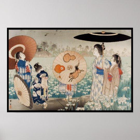 Vintage ukiyo-e japanese ladies with umbrella art poster
