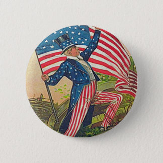 Vintage Uncle Sam and American Flag 6 Cm Round Badge